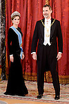 Queen Letitzia and King Felipe VI of Spain during the gala dinner given to the President of the Argentine Republic, Sr. Mauricio Macri and Sra Juliana Awada at Real Palace in Madrid, Spain. February 19, 2017. (ALTERPHOTOS/BorjaB.Hojas)