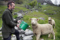 Switzerland. Canton Ticino. Corippo lies in the Verzasca valley. Claudio Scettrini gives bread to its sheeps. He works in the forest service, and is on the side an alpine farmer, but also the mayor who leads the town council consisting of three local citizens. With a population of just 16, Corippo is the smallest municipality in Switzerland. Despite this, it possesses the trappings of communities many times its size such as its own coat of arms and a town council which is a democratically elected form of government for small municipalities. A council may serve as both the representative and executive branch. The village has maintained its status as an independent entity since its incorporation in 1822. 9.05.13 © 2013 Didier Ruef
