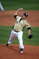 UCF Knights relief pitcher Trent Thompson (42) delivers a pitch during a game against the Siena Saints on February 21, 2016 at Jay Bergman Field in Orlando, Florida.  UCF defeated Siena 11-2.  (Mike Janes/Four Seam Images)