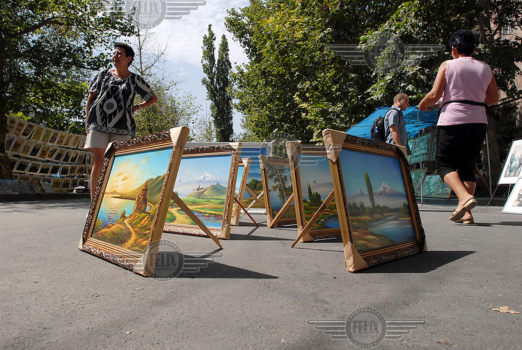 Paintings for sale at a weekend street market in the centre of Yerevan.