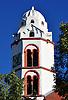 Glocken- und Uhrturm der Ev. Heidenturmkirche in Dittelsheim-Heßloch, Sarazenenturm von 1100