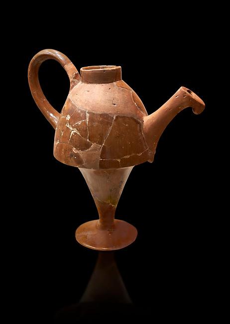 Hittite terra cotta side spouted tapered base teapot. Hittite Empire, Alaca Hoyuk, 1450 - 1200 BC. Alaca Hoyuk. Çorum Archaeological Museum, Corum, Turkey. Against a black bacground.