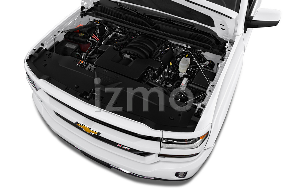 Car Stock 2018 Chevrolet Silverado-1500 LT-Z71-Crew 4 Door Pick-up Engine  high angle detail view