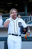 Mesa Solar Sox designated hitter Cam Gibson (3), of the Detroit Tigers organization, talks to a reporter on the phone after an Arizona Fall League game against the Glendale Desert Dogs on October 28, 2017 at Sloan Park in Mesa, Arizona. The Solar Sox defeated the Desert Dogs 9-6. (Zachary Lucy/Four Seam Images)