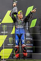 29th August 2021; Silverstone Circuit, Silverstone, Northamptonshire, England; MotoGP British Grand Prix, Race Day; Monster Energy Yamaha MotoGP rider Fabio Quartararo celebrates towards the fans
