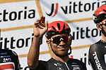 Caleb Ewan (AUS) and Lotto-Soudal team at sign on before the start of the 111th edition of Milan- San Remo 2020, running 305km from Milan to San Remo, Italy. 8th August 2020.<br /> Picture: LaPresse/Fabio Ferrari | Cyclefile<br /> <br /> All photos usage must carry mandatory copyright credit (© Cyclefile | LaPresse/Fabio Ferrari)