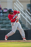 Deivi Grullon (4) of the Lakewood BlueClaws at bat against the Kannapolis Intimidators at Kannapolis Intimidators Stadium on May 10, 2016 in Kannapolis, North Carolina.  The BlueClaws defeated the Intimidators 5-3.  (Brian Westerholt/Four Seam Images)