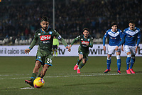 Fußball, Brescia Calcio - SSC Nepael Lorenzo Insigne of Napoli scores from the penalty spot to level the game at 1-1 during the Serie A match at Stadio Mario Rigamonti, Brescia. Picture date: 21st February 2020. Picture credit should read: Jonathan Moscrop/Sportimage PUBLICATIONxNOTxINxUK SPI-0500-0004<br /> Brescia - Napoli<br /> Photo Jonathan Moscrop / Sportimage / Imago / Insidefoto