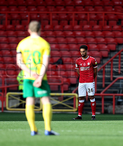 31st October 2020; Ashton Gate Stadium, Bristol, England; English Football League Championship Football, Bristol City versus Norwich; Players observe a minute silence for the passing of Nobby Stiles