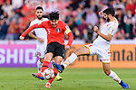 Son Heungmin of South Korea (L) fights for the ball with Hamad Mahmood Alshamsan of Bahrain (R) during the AFC Asian Cup UAE 2019 Round of 16 match between South Korea (KOR) and Bahrain (BHR) at Rashid Stadium on 22 January 2019 in Dubai, United Arab Emirates. Photo by Marcio Rodrigo Machado / Power Sport Images