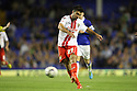 Michael Doughty of Stevenage (on loan from QPR) shoots at goal<br />  - Everton v Stevenage - Capital One Cup Second Round - Goodison Park, Liverpool - 28th August, 2013<br />  © Kevin Coleman 2013