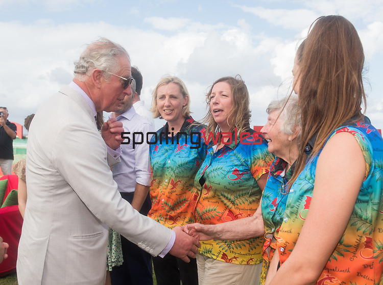 HRH Prince Charles shakes hands with Anne Ellis OBE.<br /> <br /> *This image must be credited to Ian Cook Sportingwales and can only be used in conjunction with this event only*<br /> <br /> 21st Commonwealth Games  -  Day 1- 05\04\2018 - Kurrawa Surf Club - Gold Coast City - Australia