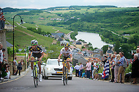 Dube Quintero (COL) & Jay Thomson (RSA) leading the stage up a category 1 climb in Wormeldange-Haut<br /> <br /> 2013 Tour of Luxemburg<br /> stage 1: Luxembourg - Hautcharage (184km)