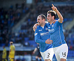 Brian Graham (R) celebrates his goal for St Johnstone with team mate Dave Mackay