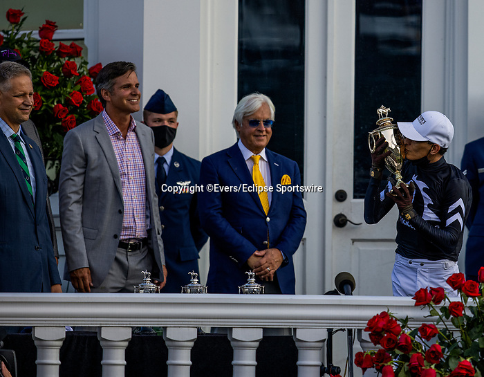 September 5, 2020: John Velazquez kisses the trophy after winning the Kentucky Derby at Churchill Downs in Louisville, Kentucky, on September 05, 2020. Evers/Eclipse Sportswire/CSM