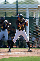 Pittsburgh Pirates Nelson Jorge (12) during a minor league Spring Training intrasquad game on April 3, 2016 at Pirate City in Bradenton, Florida.  (Mike Janes/Four Seam Images)