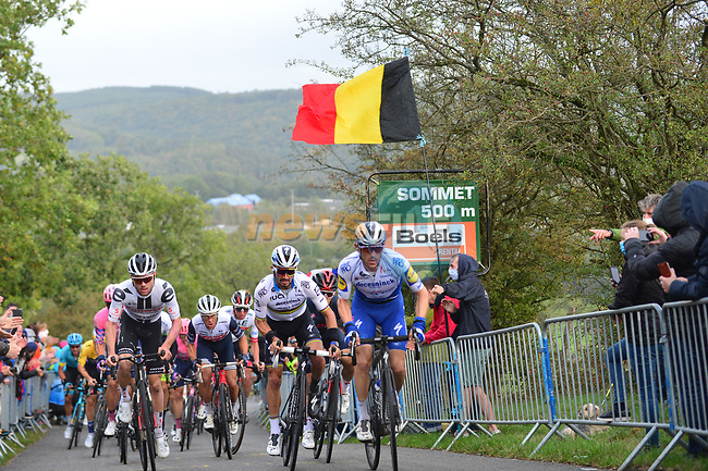 The lead group including World Champion Julian Alaphilippe (FRA) Deceuninck-Quick Step and Marc Hirschi (SUI) Team Sunweb climb Cote de la Redoute during Liege-Bastogne-Liege 2020, running 257km from Liege to Liege, Belgium. 4th October 2020.<br /> Picture: ASO/Gautier Demouveaux | Cyclefile<br /> All photos usage must carry mandatory copyright credit (© Cyclefile | ASO/Gautier Demouveaux)