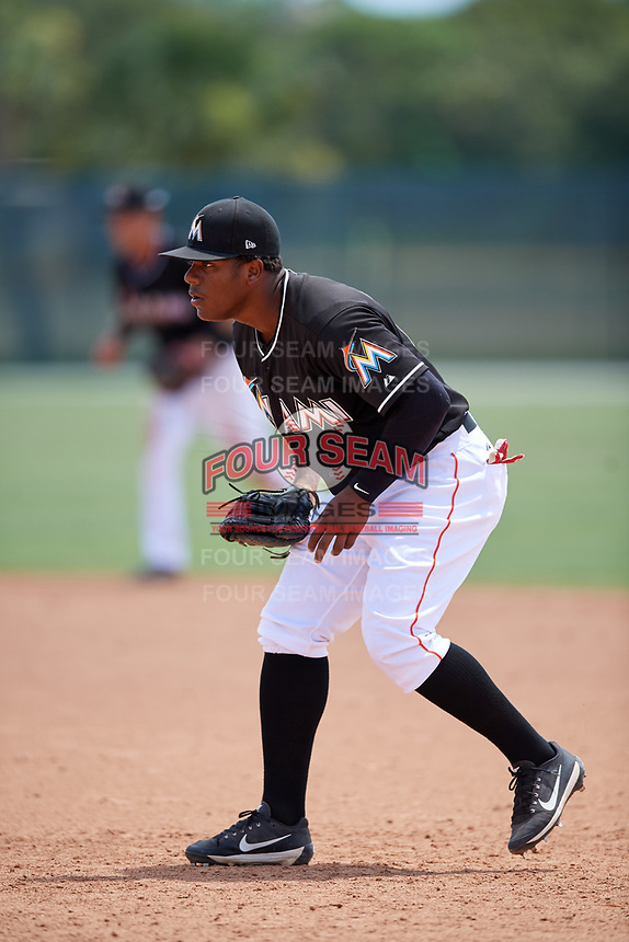 GCL Marlins Omar Lebron (17) during a game against the GCL Cardinals on August 4, 2018 at Roger Dean Chevrolet Stadium in Jupiter, Florida.  GCL Marlins defeated GCL Cardinals 6-3.  (Mike Janes/Four Seam Images)