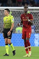 23rd September 2021;  Stadio Olimpicom, Roma, Italy; Serie A League Football, Roma versus Udinese;Tammy Abraham of As Roma jubilates after scoring the goal 1-0