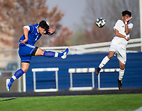 Johnny Vazquez (1) of Rogers kicks the ball against Springdale at Whitey Smith Stadium, Rogers High School, Rogers, Arkansas, on Friday, April 2, 2021 / Special to NWA Democrat Gazette David Beach