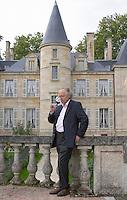 On the terrasse. Gildas d'Ollone of the de Lencquesaing family. Chateau Pichon Longueville Comtesse de Lalande, pauillac, Medoc, Bordeaux, France