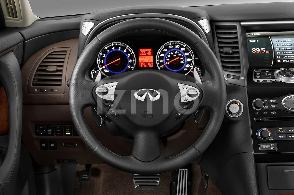 Steering wheel view of a 2009 Infiniti FX50