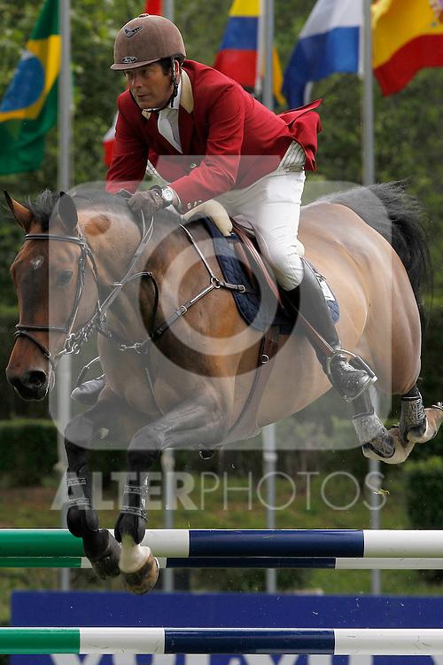 Spanish jockey Luis Cabanas and Zally horse during 102 International Jumping Championship Grand Prix of Madrid- Zaldi Trophy, in the Club de Campo Villa de Madrid 2012/May/20..(ALTERPHOTOS/ARNEDO)