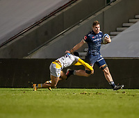27th December 2020; AJ Bell Stadium, Salford, Lancashire, England; English Premiership Rugby, Sale Sharks versus Wasps;  Corbus Wiese of Sale Sharks  is tackled by Lima Sopoaga of Wasps