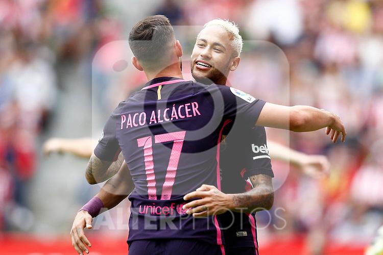 FC Barcelona's Neymar Santos Jr (r) and Paco Alcacer celebrate goal during La Liga match. September 24,2016. (ALTERPHOTOS/Acero)