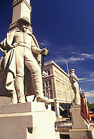 AJ2734, Lancaster, Pennsylvania, Soldiers and Sailors Monument (a 43-foot high square Corinthian column) at Penn Square in Lancaster in the state of Pennsylvania.