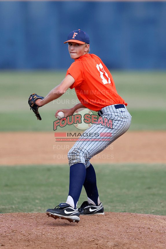 Phil Bickford of the Cal State Fullerton Titans, a first round draft pick by the Toronto Blue Jays in the 2013 draft, pitches during a intrasquad game at Goodwin Field on October 13, 2013 in Fullerton, California. (Larry Goren/Four Seam Images)
