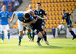 St Johnstone v Dundee...13.09.14  SPFL<br /> Brain Graham is tackled by Gary Irvine<br /> Picture by Graeme Hart.<br /> Copyright Perthshire Picture Agency<br /> Tel: 01738 623350  Mobile: 07990 594431
