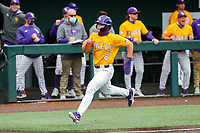 LSU Tigers left fielder Gavin Dugas (6) in action against the Tennessee Volunteers on Robert M. Lindsay Field at Lindsey Nelson Stadium on March 28, 2021, in Knoxville, Tennessee. (Danny Parker/Four Seam Images)