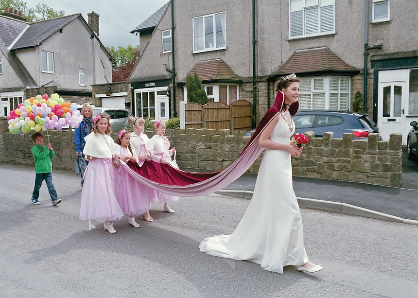 """May Queen of Hayfield, Ruth Eastwood accompanied by Junior queen Hannah Cooper, Rosebud Milly Phoenix, and attendants Miss Maia & Miss Rhianon .<br /> <br /> """"Their choice of the young lady who should wear the crown was made in a way that no one could find fault with, and when the choice had been made, the whole village appeared to agree that she should be a queen indeed, and that the fullest homage should be paid to her. """""""