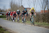 A very strong Sep Vanmarcke (BEL/LottoNL-Jumbo) forces a decisive gap on the last passage of the Haaghoek pavé. Ian Stannard (GBR/Sky) sticks to his wheel.<br /> <br /> Omloop Het Nieuwsblad 2015