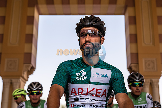 Race leader Green Jersey Nacer Bouhanni (FRA) Team Arkea Samsic ready to start Stage 5 of the Saudi Tour 2020 running 144km from Princess Nourah University to Al Masmak, Saudi Arabia. 8th February 2020. <br /> Picture: ASO/Kåre Dehlie Thorstad | Cyclefile<br /> All photos usage must carry mandatory copyright credit (© Cyclefile | ASO/Kåre Dehlie Thorstad)