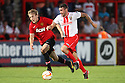 James Dunne of Stevenage outpaces Louis Rowley of Manchester United<br />  Stevenage v Manchester United XI - Pre-season friendly - Lamex Stadium, Stevenage - 26th July, 2013<br />  © Kevin Coleman 2013