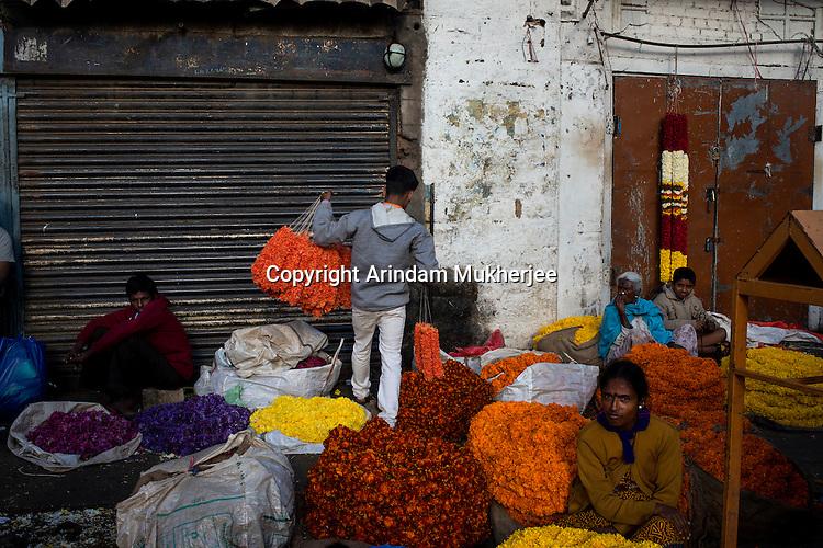 Flower market in Bangalore, India.
