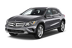Angular Front Three Quarter View of 2015 Mercedes Benz GLA-Class 250 5 Door SUV Stock Photo