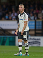 Jack Grimmer of Fulham during the Capital One Cup match between Wycombe Wanderers and Fulham at Adams Park, High Wycombe, England on 11 August 2015. Photo by Andy Rowland.