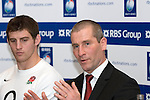 England Coach Stuart Lancaster and Tom Wood(England) at the official launch of the RBS Six Nations rugby tournament at the Hurlingham Club in London..