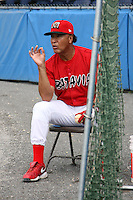 July 3, 2009:  Coach Ramon Ortiz of the Batavia Muckdogs during batting practice before a game at Dwyer Stadium in Batavia, NY.  The Muckdogs are the NY-Penn League Short-Season Class-A affiliate of the St. Louis Cardinals.  Photo By Mike Janes/Four Seam Images