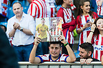 A fan of Atletico de Madrid waiting for an autograph during the La Liga match between Atletico de Madrid vs Osasuna at Estadio Vicente Calderon on 15 April 2017 in Madrid, Spain. Photo by Diego Gonzalez Souto / Power Sport Images