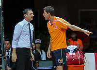 Arena Loire,  Trélazé,  France, 16 April, 2016, Semifinal FedCup, France-Netherlands, Captain Paul Haarhuis (NED) in heavy discussion with the umpire<br /> Photo: Henk Koster/Tennisimages