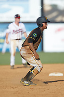Mikell Granberry (7) of the Bristol Pirates takes his lead off of second base against the Danville Braves at American Legion Post 325 Field on July 1, 2018 in Danville, Virginia. The Braves defeated the Pirates 3-2 in 10 innings. (Brian Westerholt/Four Seam Images)