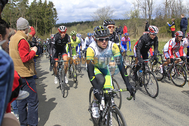 The peloton including Simon Gerrans (AUS) GreenEdge Cycling Team climb Cote de la Roche-en-Ardenne during the 98th edition of Liege-Bastogne-Liege, running 257.5km from Liege to Ans, Belgium. 22nd April 2012.  <br /> (Photo by Eoin Clarke/NEWSFILE).