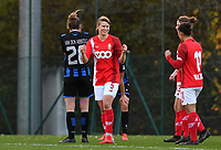 Standard's Aster Janssens celebrates after winning a female soccer game between Standard Femina de Liege and Club Brugge YLA on the seventh matchday of the 2020 - 2021 season of Belgian Scooore Womens Super League , saturday 14 th of November 2020  in Angleur , Belgium . PHOTO SPORTPIX.BE | SPP | DAVID CATRY