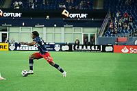 FOXBOROUGH, MA - MAY 1: DeJuan Jones #24 of New England Revolution during a game between Atlanta United FC and New England Revolution at Gillette Stadium on May 1, 2021 in Foxborough, Massachusetts.