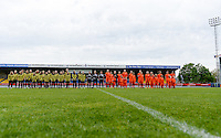 20150514 - BEVEREN , BELGIUM : line ups pictured during the final of Belgian cup, a soccer women game between SK Lierse Dames and Club Brugge Vrouwen , in stadion Freethiel Beveren , Thursday 14 th May 2015 . PHOTO DAVID CATRY