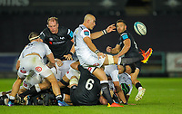 8th October 2021;  Swansea.com Stadium, Swansea, Wales; United Rugby Championship, Ospreys versus Sharks; Ruan Pienaar of Cell C Sharks clears the ball downfield